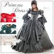 袖付きロングドレス・カラードレス《7号-9号-11号-13号/全4色(レッド・グリーン・グレー・ベージュ》ロングスリーブ中世貴族風ドレスお姫様ドレス オペラや演劇などの舞台衣装、イベントコスチュームに!(1201028-T)
