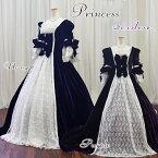 カラードレス☆お姫様ドレス《9−11号》ホワイト×パープルプリンセスライン中世貴族舞台ステージ衣装【送料無料】fk