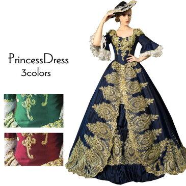 カラードレス ロングドレス ゴールド刺繍が豪華な中世貴族風お姫様ドレス 舞台衣装やステージ衣装 ロング丈のプリンセス(7号-9号-11号-13号-15号-17号-19号-21号)緑グリーン系/ワインレッド/ネイビーブルー/ 襟袖付 大きいサイズ クリスマス イベント コスプレ(G10774-2T)