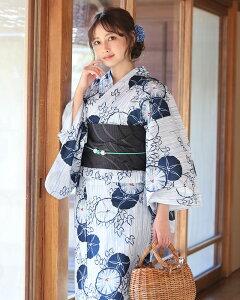 浴衣2点セット(浴衣/帯) 白 ホワイト 紺 ネイビー 黒 ブラック 藍色 花柄 朝顔 シマ 夏