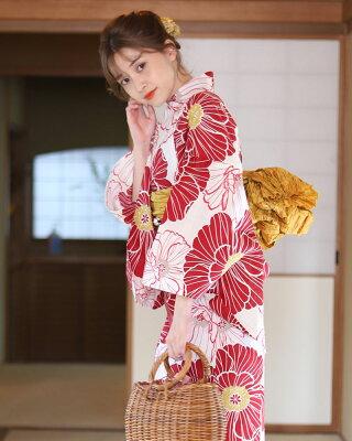 赤いアネモネ 浴衣 大人可愛いスタイル