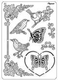 【Pergamano】マルチグリッドNo.41鳥と蝶々パーチメントペルガマーノ【05P29Jul16】
