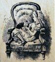 鏡の国のアリス 《Alice in the Big Chair》 テニエル画 木の持ち手 【ウッドマウント】  輸...