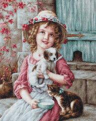 イージーカウントアイーダ使用 クロスステッチ 刺繍キット ルーカス Luca-S ベストフレンド 子犬と子猫[グレイスワーク]