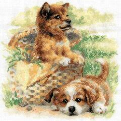 犬のクロスステッチ 刺繍キット RIOLIS 2匹の子犬 Tender Age 極細毛糸で刺すロシアのキット リオリス[グレイスワーク]