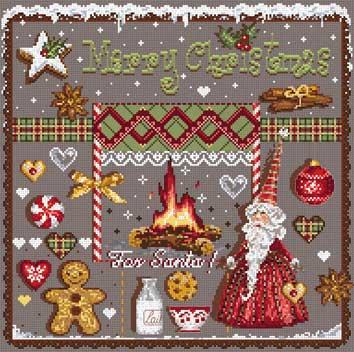 メール便送料無料 フランスのクロスステッチ 刺繍図案 サンタのために For Santa マダム ラ フェ Madame La Fee クリスマス