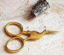 ミニチュアサイズのハサミ コウノトリの赤ちゃん ゴールド 手芸 糸切り 刺繍 鋏