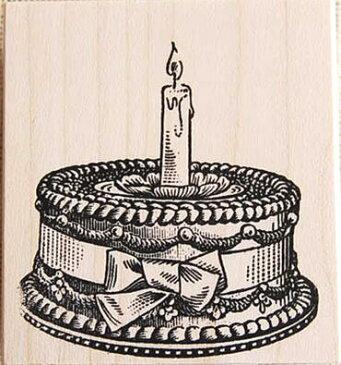 ラバースタンプ リボン飾りのケーキ 木の持ち手 ウッドマウント 輸入スタンプ アートスタンプ ゴム印・スタンプ