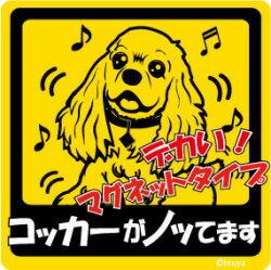 ペット ノッてますステッカー 【大判マグネットタイプ コッカー】 愛犬を連れてノリノリで、ドライブにおでかけ~♪