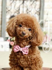 犬用アクセサリー 【シュシュネックレス ミラノリボン】 姫系アクセサリー ピンク・ベージュの2カラー 注目間違いナシ★ おしゃれなワンちゃんにおススメ♪