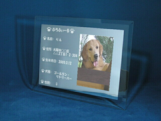 ペット 【住民票フォトフレーム】 家族の一員ペットの住民票を彫刻! 写真も入れられるミラーフォトフレームタイプ