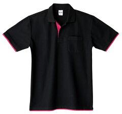 【メール便送料無料】衿、袖口、裾から見えるカラーがポイントの重ね着風★ベーシックレイヤードポロシャツ!全12色×6サイズ【auktn】