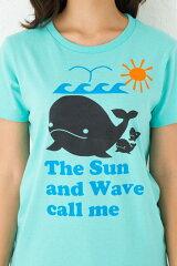 クジラの親子Tシャツ半袖|太陽と波が僕を、私を呼んでいる!!くじら哺乳類5.6ozXS~Lサイズ、メンズ・レディース、お揃い・ペアルック◎|GRACIOUSGROUND(グレイシャスグラウンド)|【メール便、レターパック対応】【auktn】