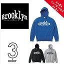 【お揃い・ペアルック、メンズ、レディース】Brooklyn New York (ブルックリン ニューヨーク)ロゴ プルオーバー パーカー裏毛|定番アメカジ ロゴ|長袖10.0 oz (オンス)S、M、L、XLサイズ|GRACIOUS GROUND (グレイシャス グラウンド)|【auktn】