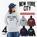 【お揃い・ペアルック、メンズ、レディース】NEW YORK CITY(ニューヨークシティ)ロゴ プルオーバー パーカー裏毛|定番アメカジ ロゴ|長袖10.0 oz (オンス) S、M、L、XLサイズ、メンズファッション・レディースファッション、男女兼用◎|【auktn】