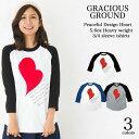 【メール便送料無料】 メンズ レディース、お揃い ペアルック ラグラン ベースボール Tシャツ!7分袖 / 手に手を取って...ハート柄/全3色GRACIOUS GROUND (グレイシャス グラウンド) 【auktn】