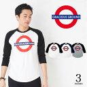 【メール便 送料無料】英国 ロンドン地下鉄 風 ブリティッシュ ロゴ ラグラン 7分袖 Tシャツ 5.6オンス| メンズファッション レディースファッション 綿素材 |S, M,L,XLサイズGRACIOUS GROUND (グレイシャス グラウンド)