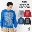 【お揃い・ペアルック、メンズ、レディース】ニューヨーク市地下鉄 ロゴ クルーネックスェット トレーナー 裏毛 New York City Subway Station ロゴ 長袖10.0 oz (オンス) S、M、L、XLサイズ GRACIOUS GROUND (グレイシャス グラウンド) 【auktn】