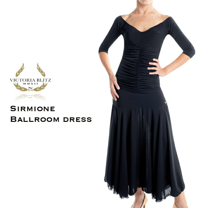 ワンピース 社交 ダンス 衣装 ビクトリアブリッツ Victoria Blitz シルミオーネ・ボールルームドレス 練習着 競技 モダン スタンダード レディース ファッション 女性 XS-L 黒 イタリア 海外画像