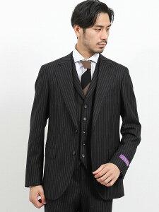 【メンズ】フィンテス/FINTES ウール スリムフィット3ピーススーツ ストライプ黒 スリムスタイルスーツ