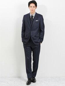 【メンズ】ストレッチ光沢ウール混 スリムフィット3ピーススーツ チェック青 スリムスタイルスーツ