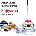 ガラス(PYREX)Fujiyama富士山のお香立て(お香皿付き)
