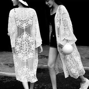 ボヘミアン レース ロング ガウン カーディガン 夏 海外 韓国 韓国ファッション 韓国スタイル レディース トップス 羽織 シースルー 七分 ワイドスリーブ 流行 ゆったり 透け 刺繍 きれいめ 水遊び 爽やか バカンス 夏休み