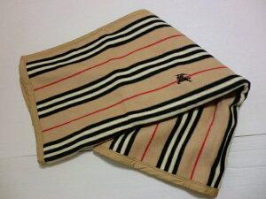 バーバリー BURBERRY  ノバボーダーライン柄 ホースマーク刺繍入り ウール100% 毛布 日本製 ベージュ