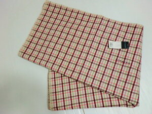 バーバリー BURBERRY  チェック柄 ロゴ入り ウール100% 毛布 日本製 ピンク
