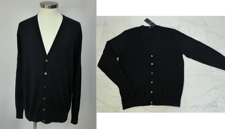 バーバリー ロンドン BURBERRY LONDON 裾ホースマーク刺繍 シルク混&綿(イタリア製糸使用) Vネック 長袖カーディ Lサイズ 濃紺:Grande shop