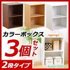 カラーボックス2段2個組[kara-bakoカラバコ2コセット]