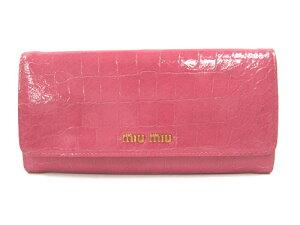 ミュウミュウ miu miu 財布 サイフ 高級感あるクロコ型押しレザーの長財布。 ★新作モデル★ミ...