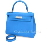 エルメスハンドバッグケリー28cm内縫いブルーザンジバル×シルバー金具トゴA刻印HERMESKellyバッグ