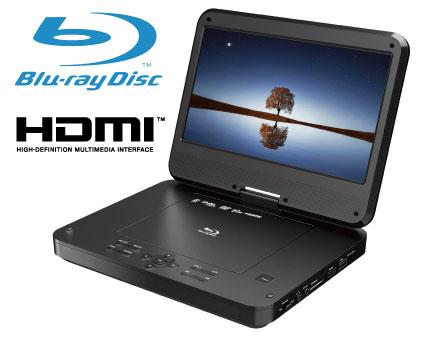 ポータブルBlu-rayプレーヤーポータブルブルーレイプレーヤー10.1インチポータブルDVDプレイヤーBlu-ray/DVD簡