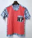 【美中古】COMME des GARCONS HOMME PLUS (コムデギャルソン オム プリュス) チェック柄 ドッキングTシャツ S MADE IN JAPANTEE