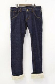 REBEL SEBASTIAN(標簽塞巴斯蒂安)BOA DENIM PANTS毛皮圍巾牛仔褲INDIGO 1