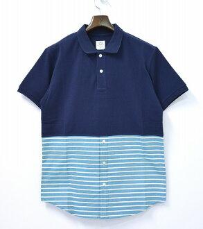 [新貨]Mr.GENTLEMAN(先生紳士)COMBINATION POLO SHIRTS NAVY×GREEN STRIPE L聯合開領短袖襯衫短袖開領短袖襯衫