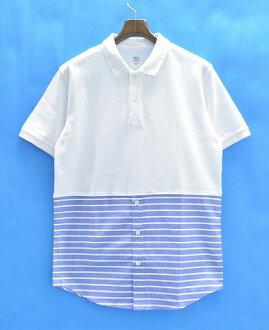 Mr.GENTLEMAN(先生紳士)COMBINATION POLO SHIRTS WHITE×BLUE STRIPE L聯合開領短袖襯衫短袖開領短袖襯衫
