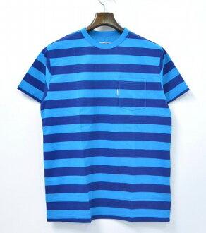 [新貨] BAD QUENTIN(壞Quentin)BORDER PRINT T-SHIRT邊緣印刷T恤口袋T-SHIRT TUQUOISE×NAVY M TEE[支持便利店領取的商品]