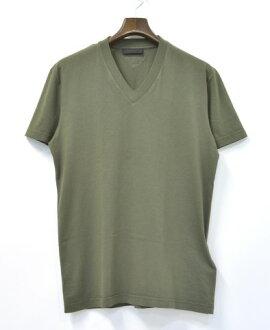 普拉達 (Prada) v 領 t 恤圓領 T 恤 M 卡其色短袖 T 襯衫
