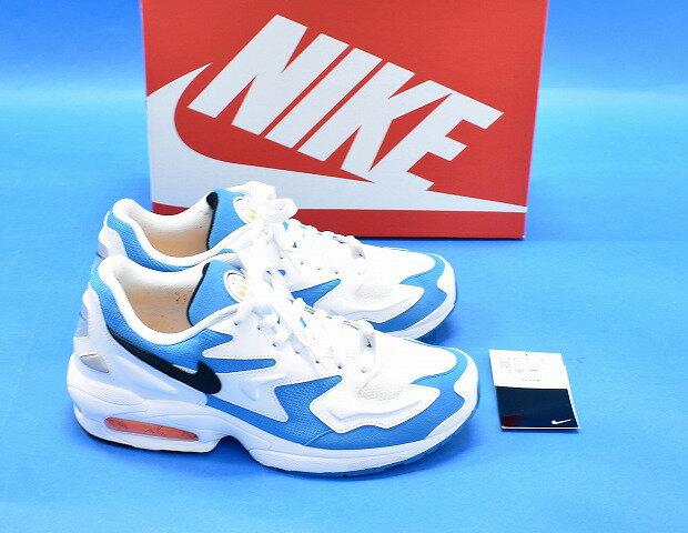 【中古】 NIKE (ナイキ) AIR MAX2 LIGHT エアマックス2 ライト US9.5 27.5cm WHITE/BLACK-BLUE LAGOON AO1741-100 ランニングシューズ スニーカー 靴画像