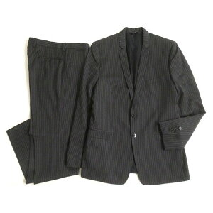 [Used] Extremely beautiful item Black tag Dolce & Gabbana Gold tag attached Stripe single suit Upper and lower set Dark gray 48 Made in Italy Regular item