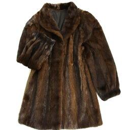【中古】極美品▼日本製 MG sable MINK ミンク 本毛皮コート ダークブラウン 毛質艶やか・柔らか◎