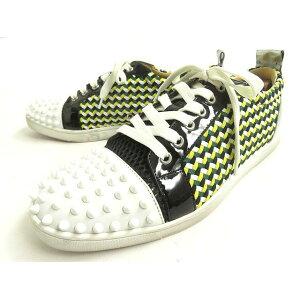 [使用过的]好产品◎Christian Louboutin Lewis Junior Spike铆钉编织皮革x专利x面料运动鞋Multi 41意大利制造