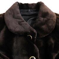 【中古】美品▼MINK シェアードミンク 裏地総柄 本毛皮ジャケット/ショートコート ダークブラウン F 毛質柔らか◎