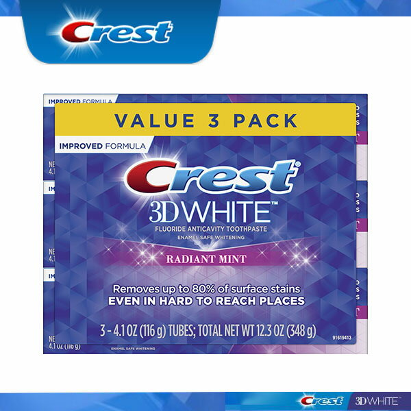 クレスト Crest 3Dホワイト ラディアントミント 4.1oz×3本