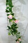 小バラのローズガーランド壁掛け造花フェイクグリーンイミテーショングリーンインテリアグリーン観葉植物人工観葉植物