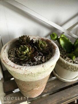 ミニシャビー鉢に多肉植物3個入り2茶混ざりの色合いシャビー鉢ペイントフェイクグリーンシャビー鉢造花人工観葉植物インテリアグリーン光触媒付ミッドセンチュリースタイルミニ観葉植物