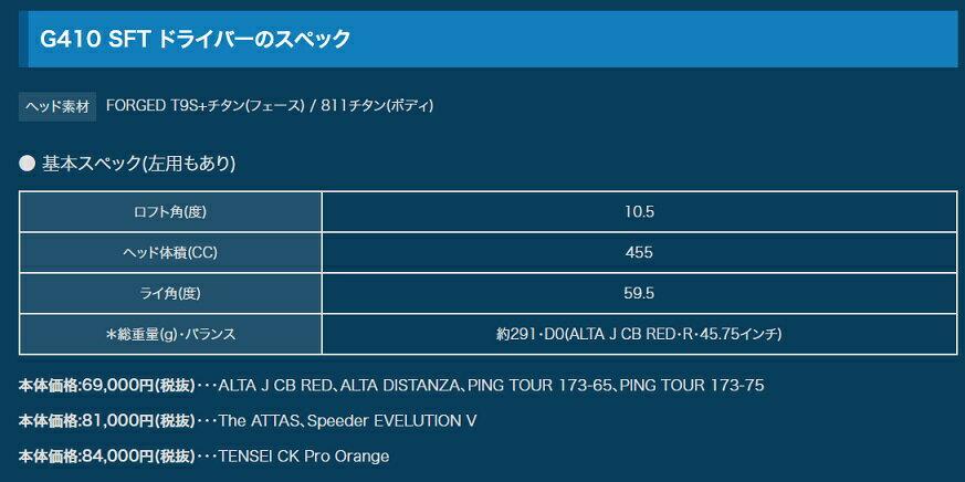 PING G410 SFT DRIVER ピン ドライバー TENSEI CK Pro Orange