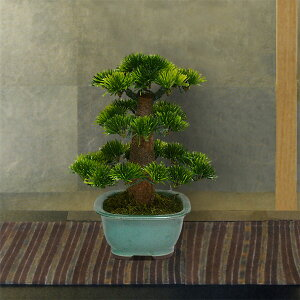 Bonsai Height 24 cm Ipponmatsu mini bonsai A (bonsai pine bonsai pine artificial flower fake green display Japanese style tabletop ceremony event) (Item number: nb-mini -a)